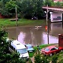 Inotatori in viaductul inundat din cartierul Micalaca